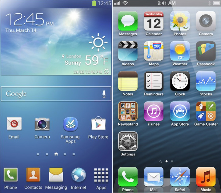 galaxy-s4-home-screen-vs-ios-iphone-home-screen