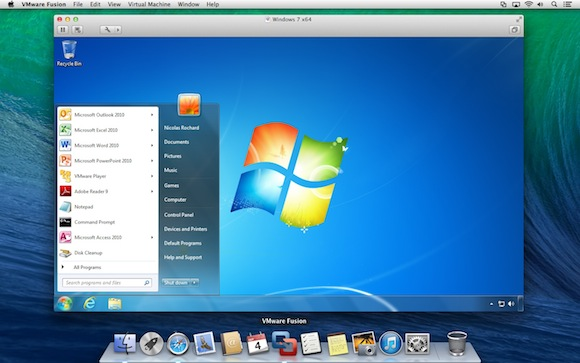 A Windows VM inside a Mac OS X system